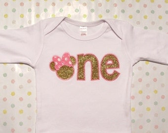 Pink and Gold Shirt or Onesie Number One Minnie Mouse Head Bow Birthday Shirt Cake Smash Shirt Girl Toddler Infant Personalization Optional