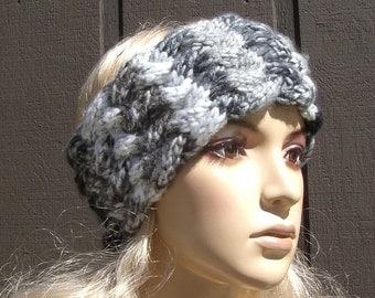 Knit Head Wrap Headband Ear Warmer Winter Black Brown Gray and Off White