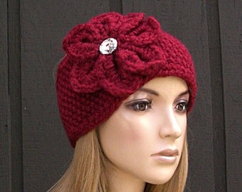 Crochet Flower Head Wrap Headband Earwarmer Winter Knit Red with Sparkle Button