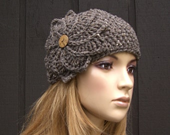 Knit Headband Head Wrap Ear Warmer Barley Tweed with Crochet Flower and Button Closure