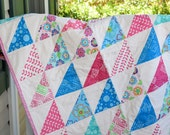 Handmade Quilt, Modern Quilt, Ready to ship Quilt, Pink Quilt, Blue Quilt, One of a Kind Quilt, baby girl quilt