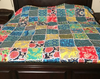 Queen Size Quilt Ready to ship rag quilt yellow queen quilt, blue queen quilt, Queen rag quilt, navy blue rag quilt