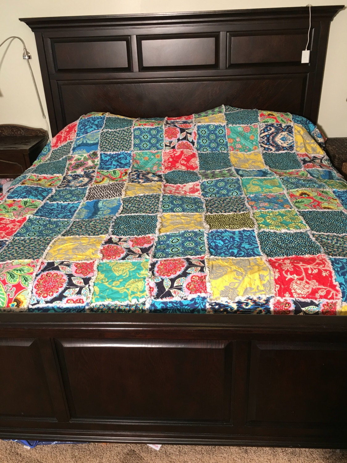 Queen size quilt ready to ship rag quilt yellow by for Spaceship quilt