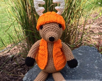 "Amigurumi - Crochet doll - Deer Stuffed Toy animal -  ""Dodge"" the Whitetail Deer with Blaze Orange hunter Hat and Ves"
