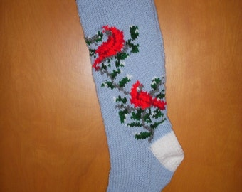Hand-knitted Personalized Cardinals (Bird) Christmas Stocking