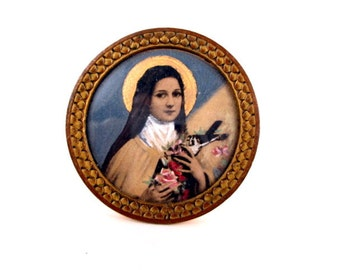 Miniature Painting St Therese Little Flower Framed With Stand Antique 1890 French Over Painted Print Art Religious Superior Gift For Her