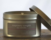 Raspberry Sangria Soy Candle Tin 8 oz. - raspberry candle - wine candle - sangria candle - fruit candle - summer candle - food candle