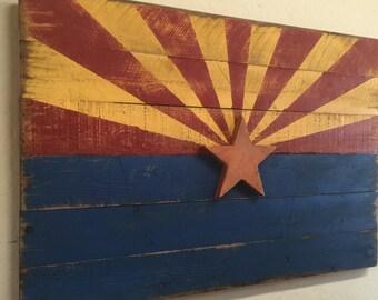 Barn Wood Style Arizona Flag, Rustice Arizona Flag, Americana Flag, Arizona Flag, Americana Decor, Primitive Arizona Flag