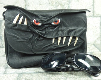 Cross Body Handbag Purse With Face Messenger Bag Harry Potter Labyrinth Monster Black Leather Goth