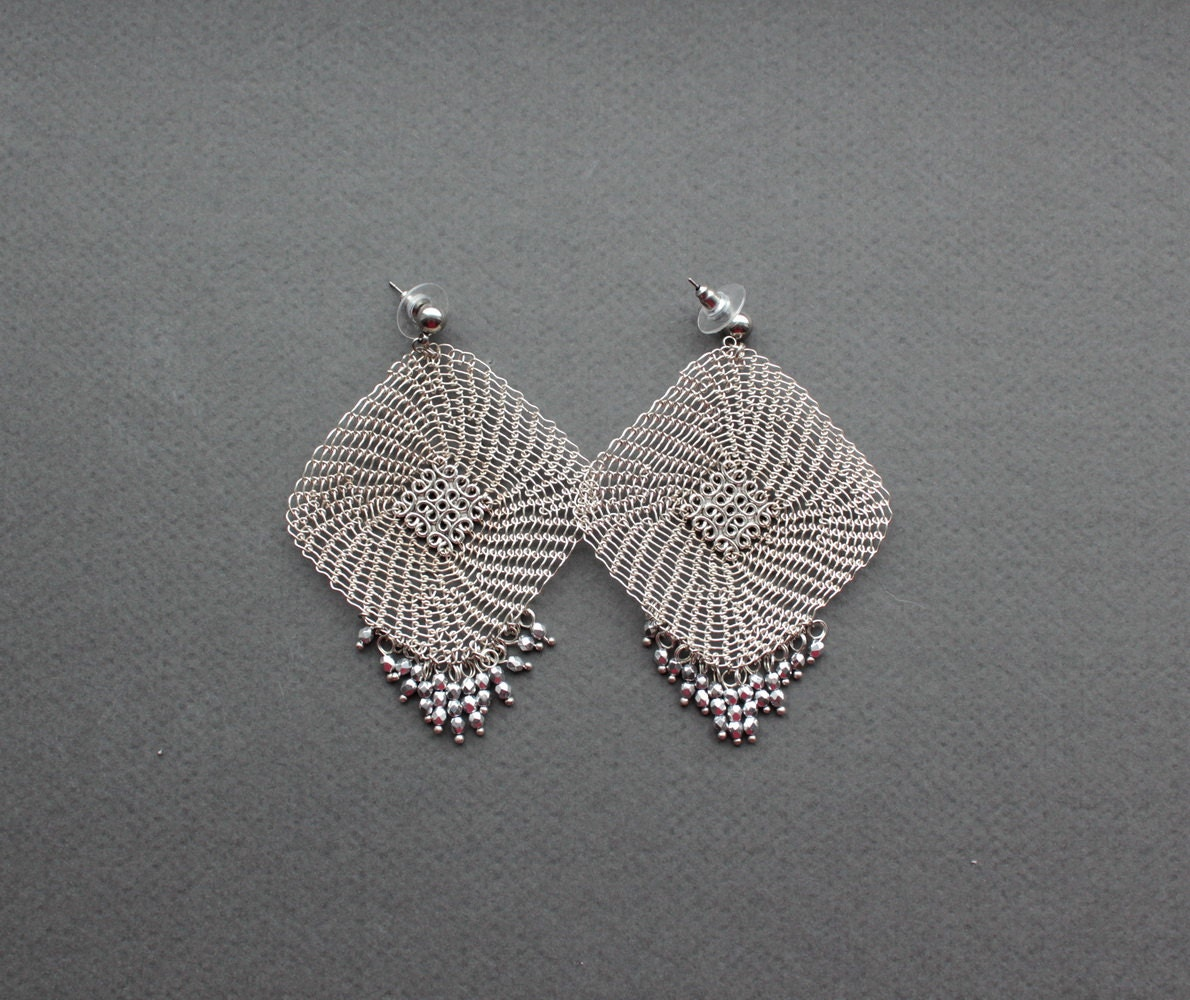 oversize silver statement earrings square wire