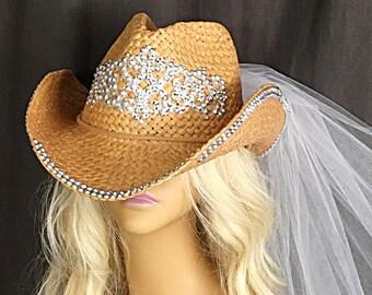 Cowboy Hat Veil - Cowgirl Hat Veil - Tiara Cowboy Hat