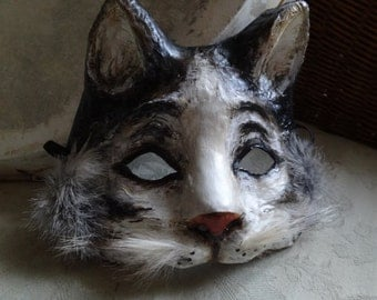 Paper mache cat mask, animal mask