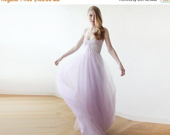 Purple lavender maxi tulle ballerina gown, Sweetheart neckline maxi purple gown