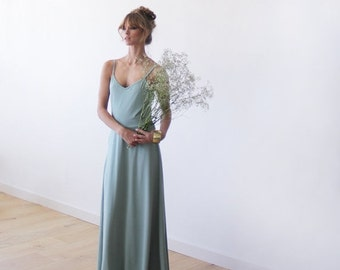 Mint maxi dress with open X-back straps , Maxi bridesmaids mint gown