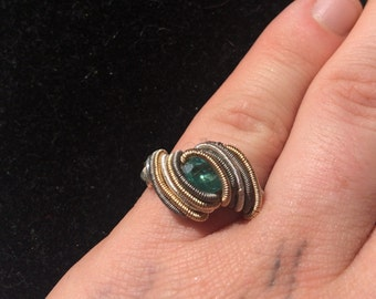 Apatite Wire Wrapped Ring Size 7