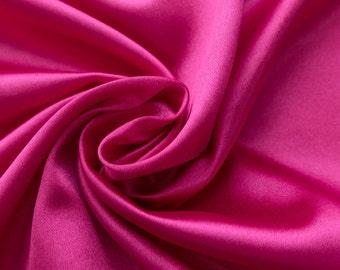 Charmeuse Stretch Solid Fuchsia 60 Inch Fabric by the Yard, 1 Yard