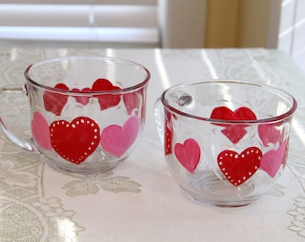 Set of Two Hand Painted Hearts Coffe Mugs