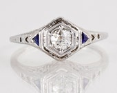 Antique Engagement Ring - Antique Art Deco 18k White Gold Filigree Diamond Engagement Ring