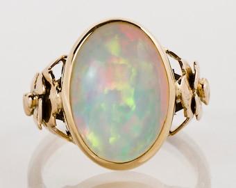 Antique Ring - Antique 1930's 14k Rose Gold Opal Ring