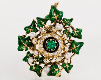 Antique Ring - Antique Victorian 1880's Gold Emerald, Diamond, Seed Pearl & Enamel Conversion Ring