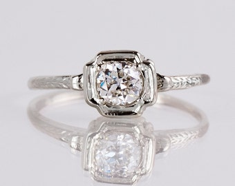 Antique Engagement Ring - Antique 1920s 14K White Gold Diamond Engagement Ring
