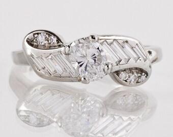Vintage Engagement Ring - Vintage 1940s Platinum and Diamond Ring