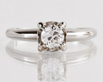 Vintage Engagement Ring - Vintage 14k White Gold Diamond Solitaire Engagement Ring