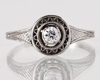 Antique Engagement Ring -  Art Deco Engagement Ring - Antique Art Deco Platinum Diamond Engagement Ring