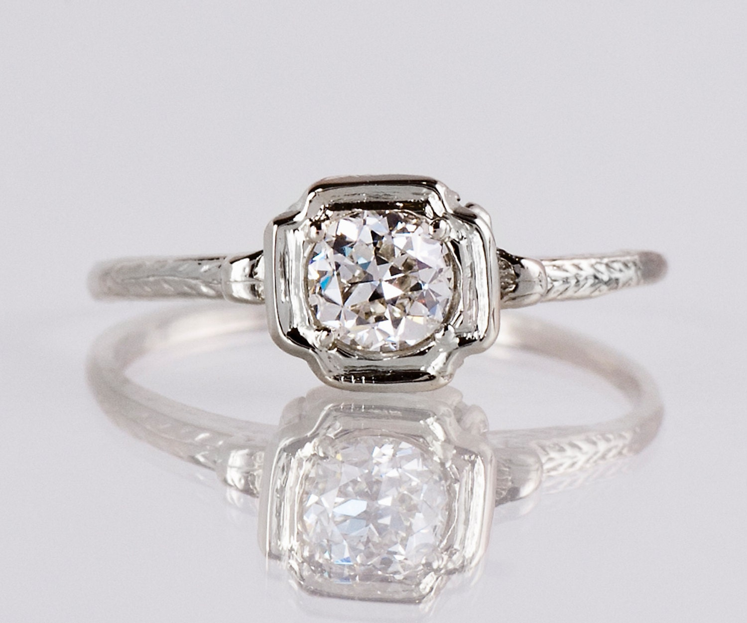 Antique Engagement Ring Antique 1920s 14K White Gold Diamond