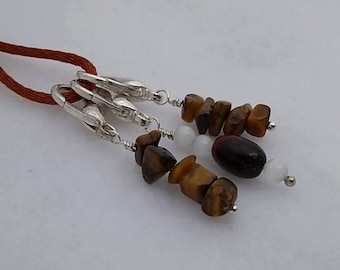 Set of 3 - Tiger Eye Nugget with Catseye Stitch Markers for Knit or Crochet - Lobster Clasp