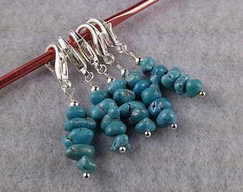 Turquoise Nugget Stitch Marker Set for Knit or Crochet - Lobster Clasp