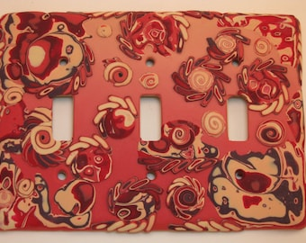 Triple Light Switchplate in Polymer Clay