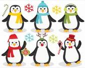 Clipart - Christmas / Wintery Penguins - Digital Clip Art (Instant Download)