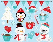Clipart - Christmas / Winter Time / Snowman - Digital Clip Art (Instant Download)