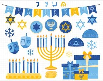 Clipart - Hanukkah (Gold) / Menorah / Dreidel / Star of David - Digital Clip Art (Instant Download)