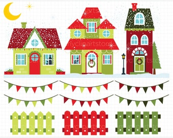 Clipart - Christmas Houses / Winter House - Digital Clip Art (Instant Download)