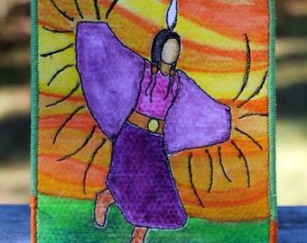 Native American Fancy Shawl Dancer, Fabric Postcard, One-of-a-kind