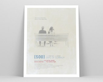 "500 Days of Summer 12x16"" ~ Movie Poster, Minimalist Art Print, Movie Illustration, Zooey Deschanel, Joseph Gordon-Levitt"