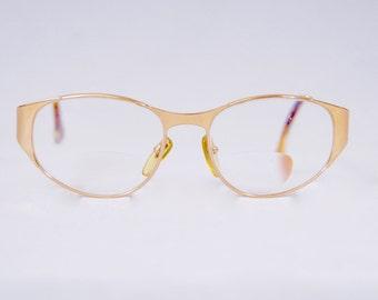 HENRY JULLIEN Vintage 1980s 18 Karats Gold Filled Reading Glasses Optical Frame