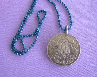 Australia, Australian Coin, Coin Necklace, Kangaroo, Emu, 1983