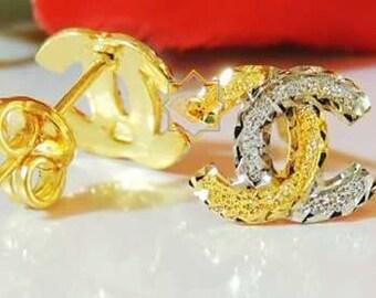 CHANEL INSPIRED 22K gold earrings