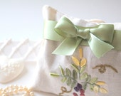 Handmade Dried Lavender Sachet from Vintage Embroidered Fabric with Handmade Satin Rose & Ribbon, Drawer Linen Freshener, Gifts for Her