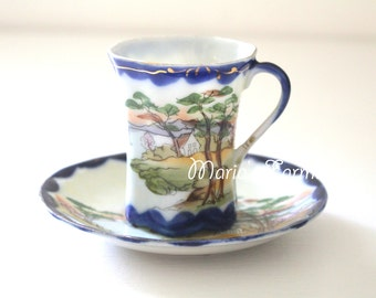 Vintage Nippon Child Size Demitasse Cup and Saucer Cobalt Blue Little Princess Birthday Party