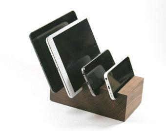 4 Device Docking Stand - Solid Walnut Block