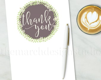 Floral Thank You Card - Handwritten, Calligraphy, Green, Cream, Light Green, Taupe, Elegant, Floral Wreath, Fill In, DIY, Blank Thank You