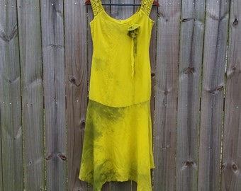 S M Small Medium Vintage 80s 90s does 20s Destroyed Grunge Green Yellow Bleached Tie Dye Drop Waist Gatsby Downtown Abbey Sundress Dress