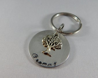 Grammy Hand Stamped Key Chain with Tree of Life Charm - Grandmother - Granny - Yaya - Family Tree Key Chain - Mother's Day Gift