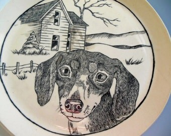 Home, Handpainted Dachshund Plate, Handmade Pottery plate, Illustrated Ceramic Plate, Original Handpainted Plate