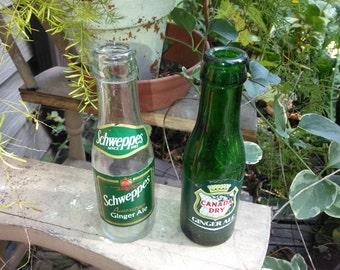 Vintage Pair of Ginger Ale Glass Soda Bottles - Collectible Vintage Soda Bottles