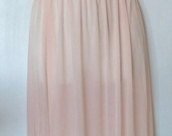 Vintage pale pink long nylon nightie sml